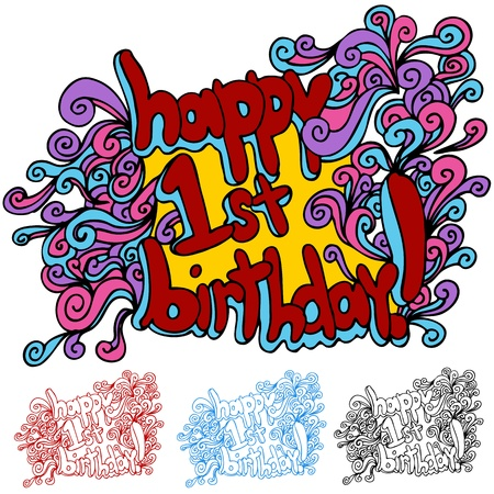 An image of a happy first birthday swirl message. Stock Vector - 15488526
