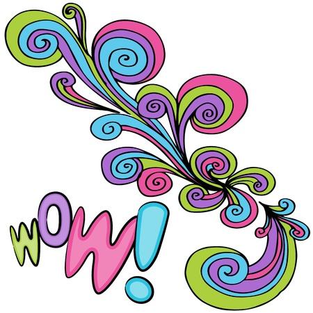 wow: Una imagen de un dibujo wow remolino abstracto.