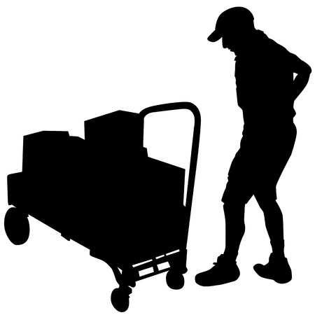 mail delivery: An image of a delivery man and cart with boxes. Illustration
