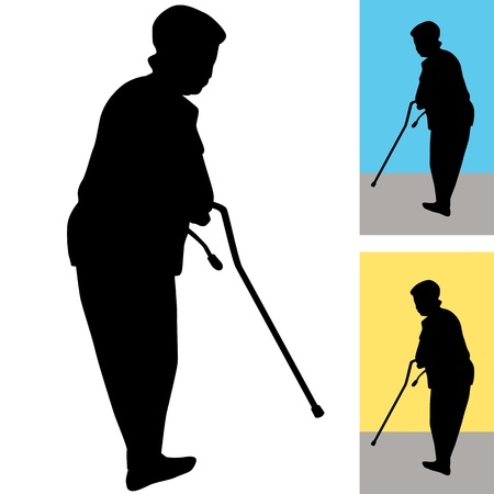 shadow: An image of a senior woman using a cane to walk.