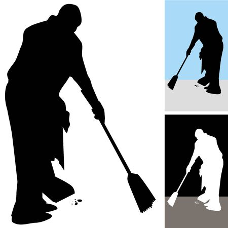 An image of a man sweeping floors. Vector