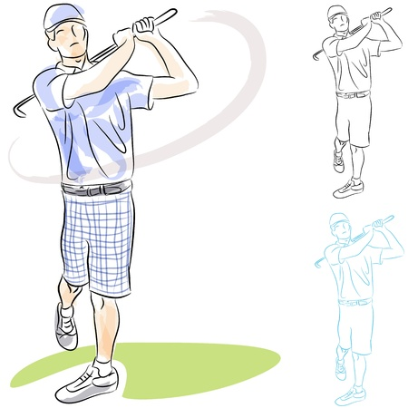 An image of a golf player swinging his club. Vetores