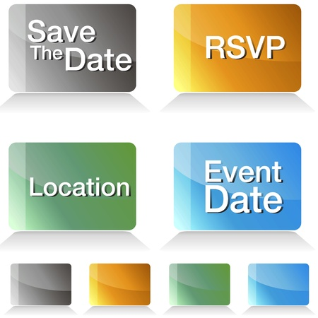 An image of a save the date jewel tone buttons. Ilustrace