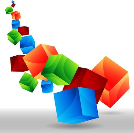 떨어지는 3D 큐브의 이미지입니다.
