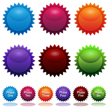 An image of a six phase sun star sticker icon set. Vector