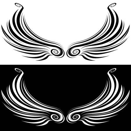 Een beeld van een decoratieve vleugel.
