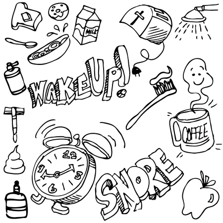 wake up: An image of a good morning drawing set. Illustration