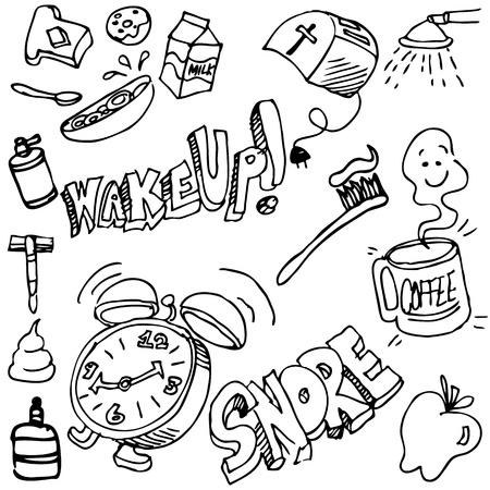 bagel: Een beeld van een goede morgen tekening set. Stock Illustratie