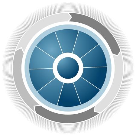 Una imagen de una rueda de negocios corporativos azul.