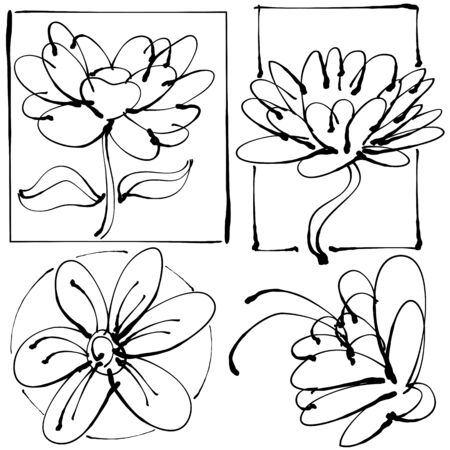 flower sketch: An image of an abstract leaky pen flower set drawing.