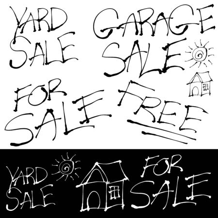 An image of a grunge sales signs set.