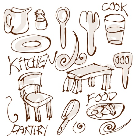 pantry: An image of kitchen items. Illustration