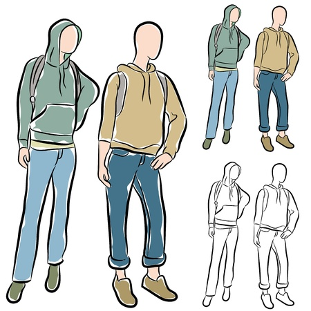 An image of a students wearing hoodies drawing set. Stock Vector - 15316277