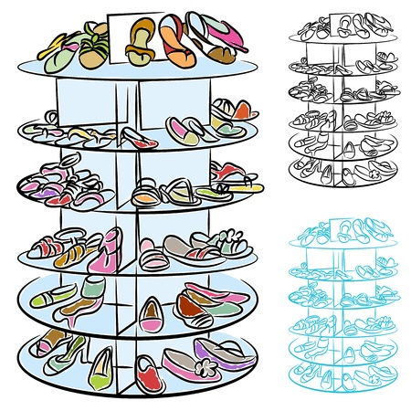high: An image of a rack of womens shoes. Illustration