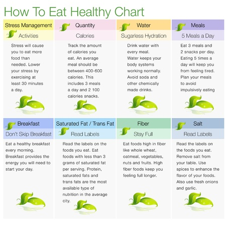 eating healthy: An image of a how to eat healthy chart. Illustration