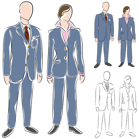 pantsuit: An image of a business suit drawing set. Illustration