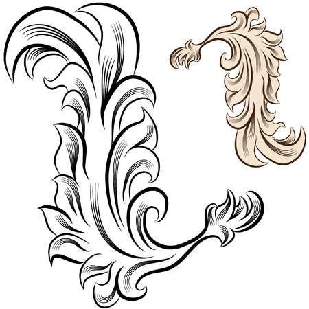 baroque border: An image of a flourish design element. Illustration