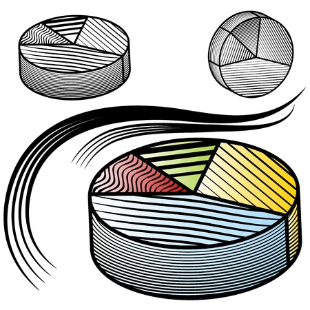 scratchboard: An image of a pie chart set. Illustration