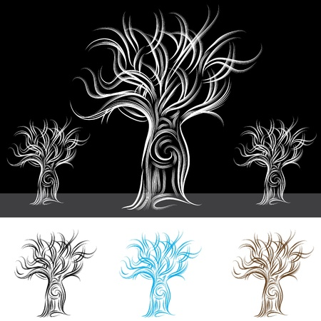 scratchboard: An image of an abstract tree. Illustration