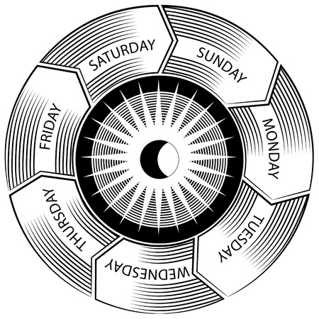 scratchboard: An image of a time wheel engraving.