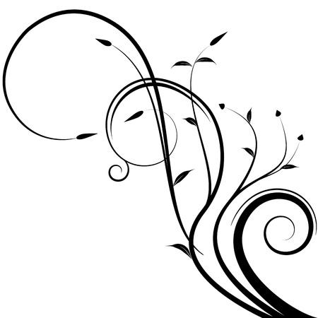 lineas onduladas: Una imagen de una rama floral. Vectores