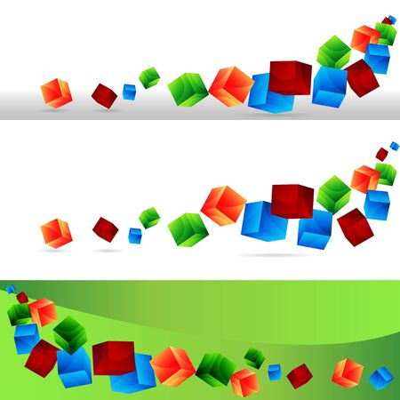 falling cubes: An image of a cube banner set. Illustration