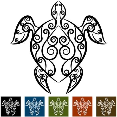 An image of a turtle swirl tattoo. Ilustracja
