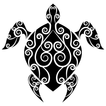 An image of a turtle swirl tattoo. Illustration