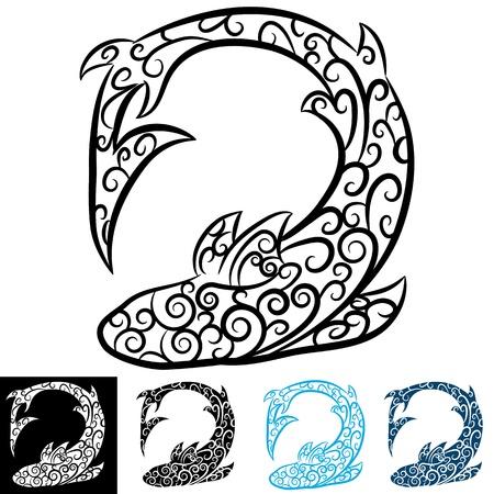 tattoo design: An image of a shark swirl tattoo.