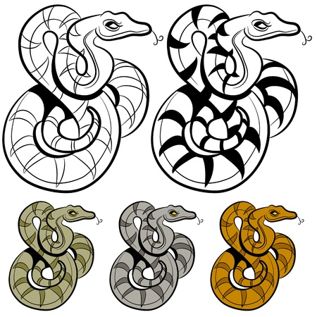 coiled: An image of a snake drawing.