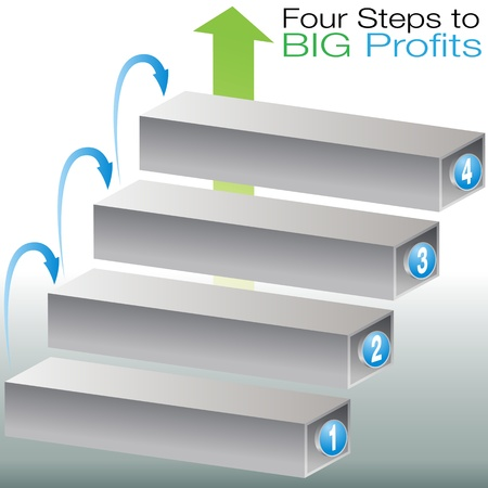 An image of a success steps chart. Vector