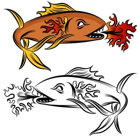 Une image d'un dessin de poisson feu. Banque d'images - 15703953