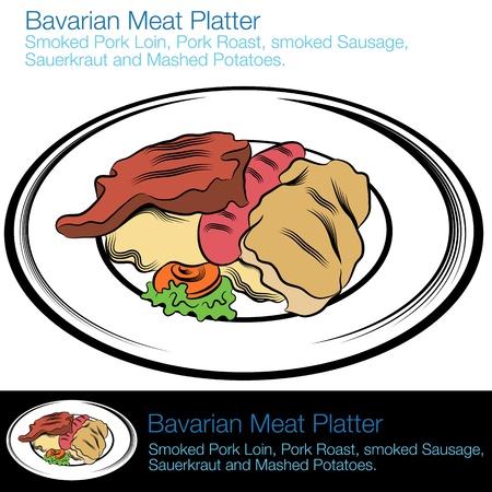 ババリア地方の肉の盛り合わせの画像。