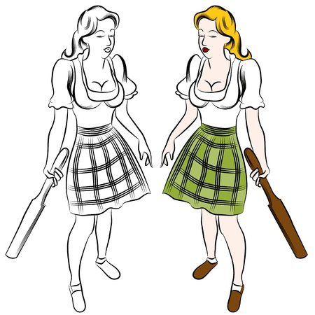 An image of a german paddle girl. Illustration