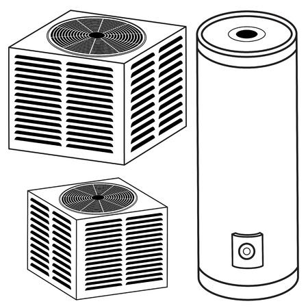 aire acondicionado: Una imagen de un calentador de agua y de aire acondicionado.