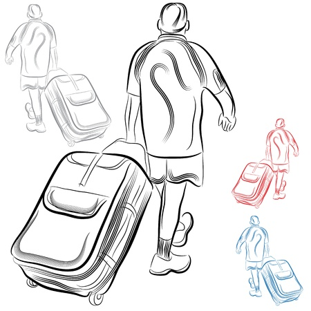 An image of a man with luggage. Ilustracja