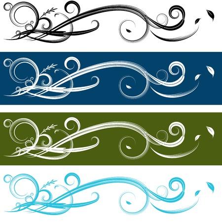 An image of a spiral banner set. Ilustração