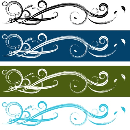sharp curve: An image of a spiral banner set. Illustration