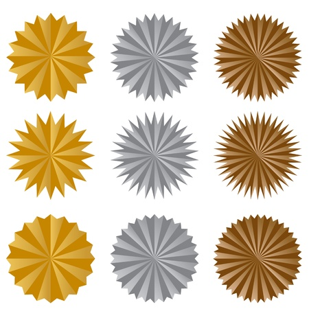 An image of a starburst sticker set. Illustration