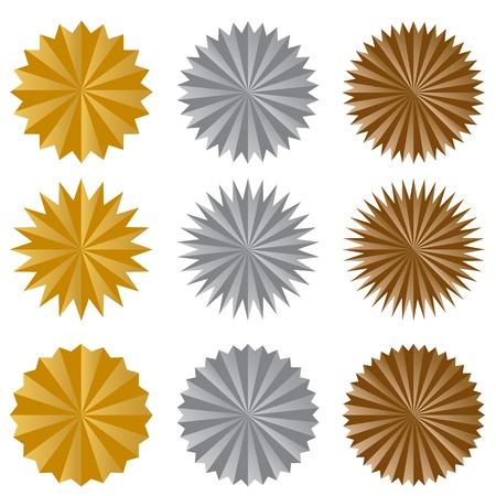 silver medal: An image of a starburst sticker set. Illustration