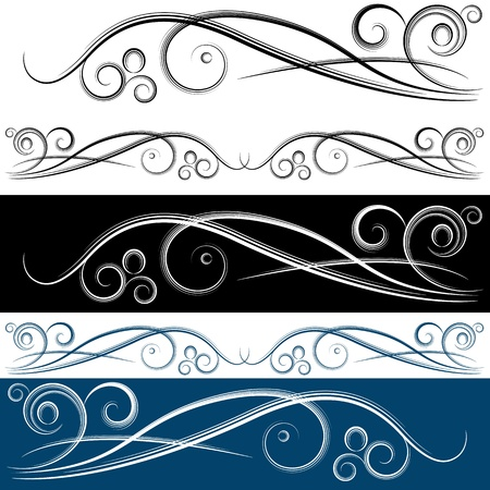 scroll shape: An image of a swirl banner set.