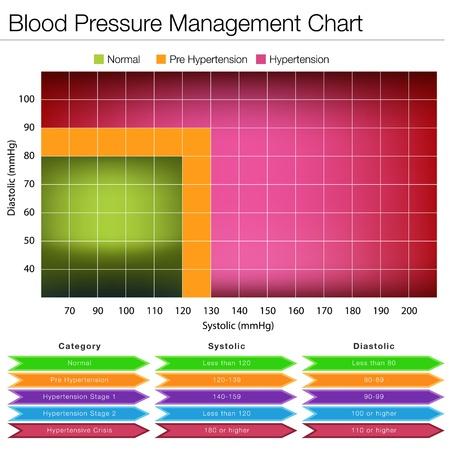 ipertensione: L'immagine di un grafico di gestione della pressione arteriosa.