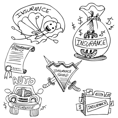 An image of an insurance drawing set. Vector