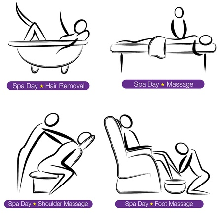 back rub: An image of a spa day people set. Illustration