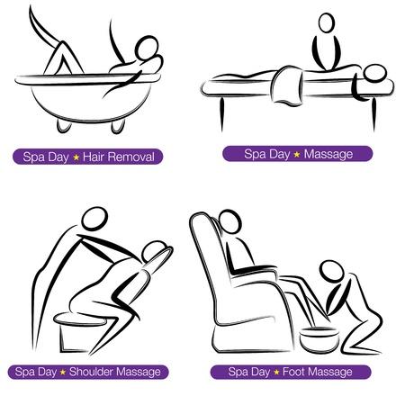 massaggio: L'immagine di un centro benessere insieme le persone. Vettoriali