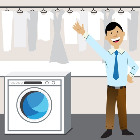 An image of a laundry business. Vector