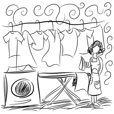 hanging clothes: An image of a laundry service drawing. Illustration