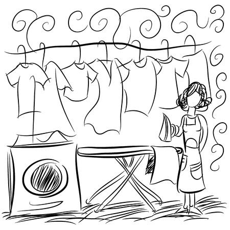 hanging woman: L'immagine di un disegno di servizio lavanderia. Vettoriali