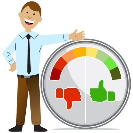thumbs down: An image of a rating meter man.