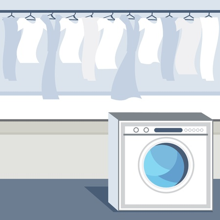 An image of a laundry room. Ilustrace